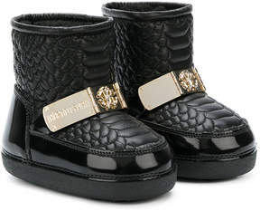 Roberto Cavalli logo plaque quilted boots