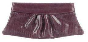 Lauren Merkin Embossed Leather Hinge Clutch