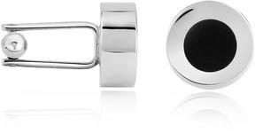 Forzieri Black Enamel Disc Silver Plated Cuff Links