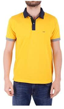 Sun 68 Men's Yellow Cotton Polo Shirt.