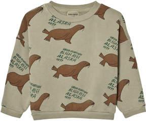 Bobo Choses Pale Green All-Over Otariinae Print Sweatshirt