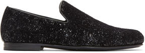 Jimmy Choo Black Velvet Glitter Devore Sloane Loafers