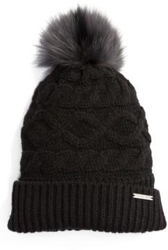 MICHAEL Michael Kors Women's Genuine Rabbit Fur Pom Beanie - Black