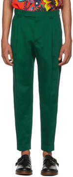 Paul Smith Green Slim Pleated Trousers