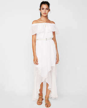 Express Off The Shoulder Fit And Flare Maxi Dress