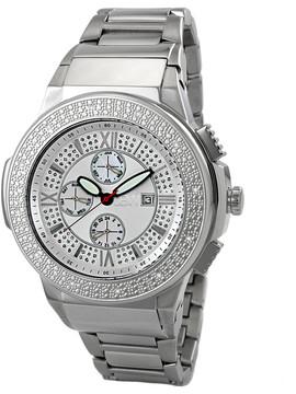 JBW Saxon Silver Sunray Crystal Pave Dial Stainless Steel Diamond Bezel Men's Watch
