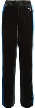 Dion Lee Balance Striped Velvet Wide-leg Pants - Green