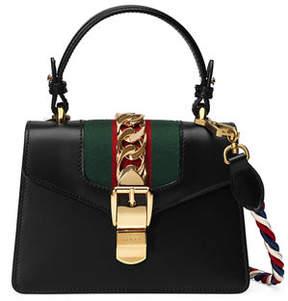 Gucci Sylvie Mini Leather Satchel Bag - BLACK - STYLE