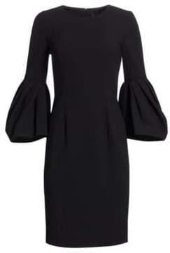 Carolina Herrera Pleated Bell Sleeve Dress