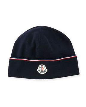 Moncler Wool Striped Logo Beanie Hat, Navy