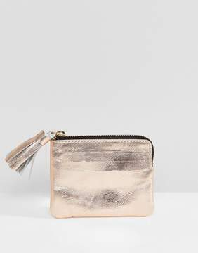 Asos DESIGN Leather Coin Purse With Tassel