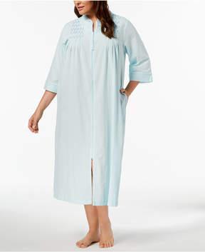 Miss Elaine Plus Size Embroidered Seersucker Zip Robe
