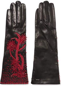 Prada Bead-embellished Leather Gloves - Black