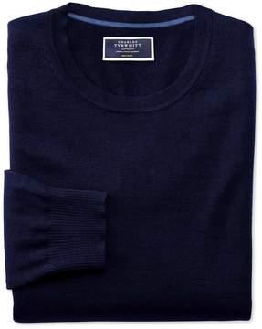 Charles Tyrwhitt Navy Merino Wool Crew Neck Sweater Size Large