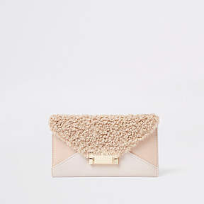 River Island Beige envelope faux leather purse