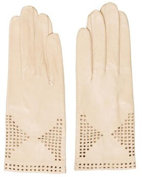 Saint Laurent Leather Perforated Gloves