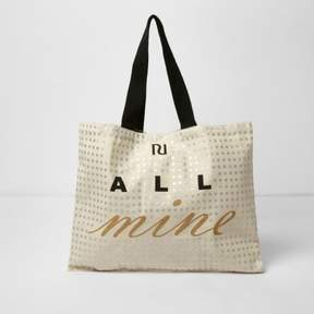 River Island Womens Beige 'all mine' foil print shopper