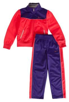 Nike Little Girls Pink & Purple Ruched Jacket & Pants Set Tricot Track Suit 3T
