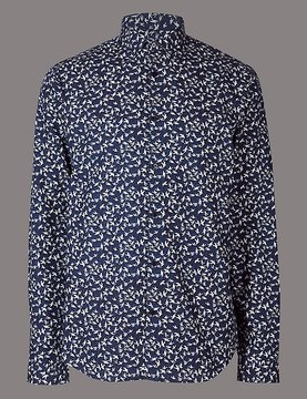 Marks and Spencer Italian Fabric Slim Fit Printed Shirt