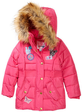 KensieGirl Hooded Bubble Jacket with Faux Fur Trim & Patches (Toddler Girls)