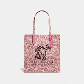 COACH Coach X Keith Haring Tote - BRIGHT PINK/BLACK COPPER - STYLE
