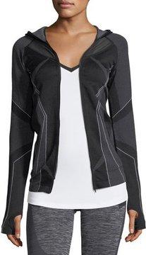 Blanc Noir Sculpt Zip-Front Hooded Performance Jacket