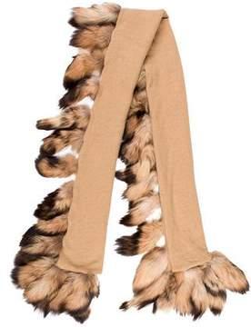 Adrienne Landau Fur-Embellished Wool Shawl