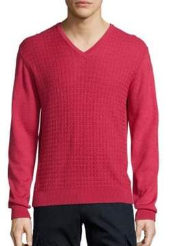 Saks Fifth Avenue COLLECTION Jacquard V-Neck Wool& Silk Sweater