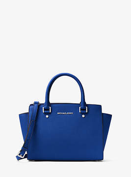 Michael Kors Selma Medium Saffiano Leather Satchel - BLUE - STYLE