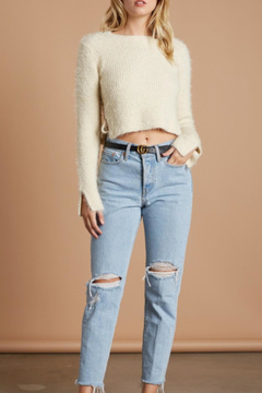 Cotton Candy Fuzzy Cropped Sweater