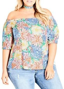 City Chic Plus Etched Bloom Top
