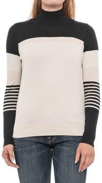 August Silk Striped Turtleneck Sweater - Cotton-Modal (For Women)