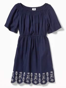 Old Navy Cinched-Waist Cutwork-Hem Dress for Girls