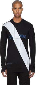 11 By Boris Bidjan Saberi Black Diagonal Stripe Crewneck Sweatshirt
