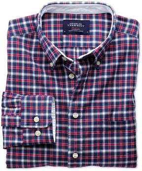 Charles Tyrwhitt Slim Fit Blue and Red Check Washed Oxford Cotton Casual Shirt Single Cuff Size XS