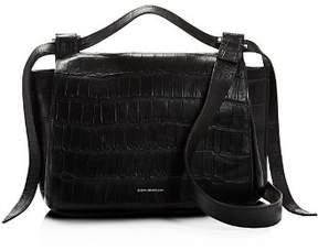 Elena Ghisellini Foxy Medium Croc-Embossed Leather Satchel