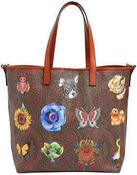 Fantasy Paisley Print Leather Tote Bag