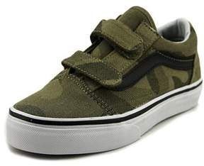 Vans Old Skool V Youth Round Toe Canvas Green Sneakers.