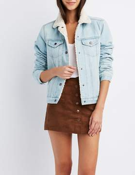 Charlotte Russe Refuge Fleece Lined Denim Jacket