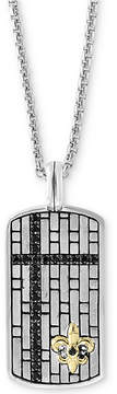Effy Men's Black Sapphire Dog Tag 22 Pendant Necklace (3/4 ct. t.w.) in Sterling Silver & 14k Gold