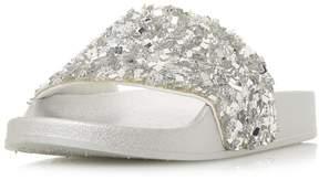 Head Over Heels *Head Over Heels by Dune Silver Luxe Flat Sandals