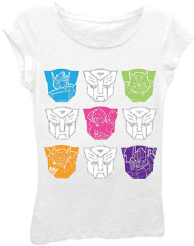 Asstd National Brand Transformers Girls' Colorful Faces Short Sleeve Graphic T-Shirt with Silver Foil
