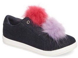 Sam Edelman Girl's Cynthia Leya Faux Fur Pompom Slip-On Sneaker