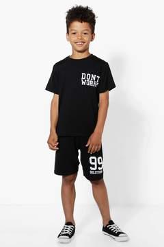 boohoo Boys Don't Worry T-Shirt and Shorts Set