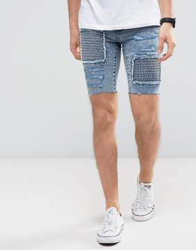 New Look Skinny Denim Shorts With Rips In Acid Wash