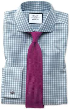 Charles Tyrwhitt Slim Fit Non-Iron Twill Gingham Teal Cotton Dress Shirt Single Cuff Size 14.5/33
