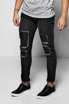boohoo Skinny Fit Rip And Repair Biker Jeans