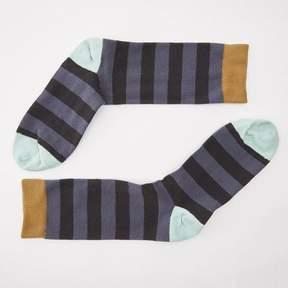 Blade + Blue Tonal Grey Rugby Stripe with Mint & Khaki Socks