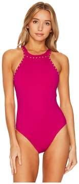 LaBlanca La Blanca Deco Stud Embellished Hi-Neck Mio Women's Swimsuits One Piece