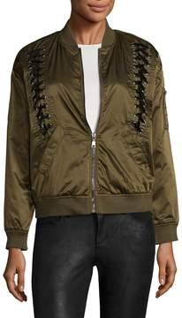 Bagatelle Women's Nylon Bomber Velvet Laced Jacket